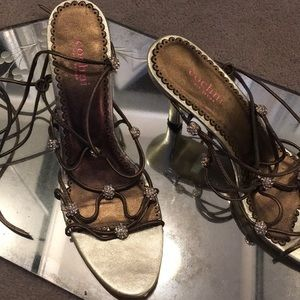 Shoes - Gold and bronze ankle lace heels with rhinestones